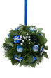 Christmas ornament, blue and silver elements, green foliage ball