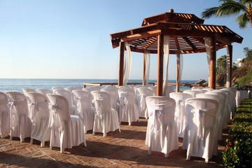 Tropical settings for a wedding on a beach