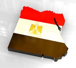 3d flag map of Egypt