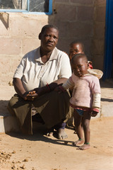 african family, grandmother and the grandchildren,