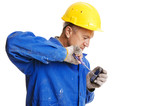 handsome workman fixing mobile phone with screwdriver poster