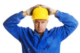 serious workman looking at camera. isolated on white poster