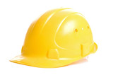 yellow hardhat. isolated on white poster
