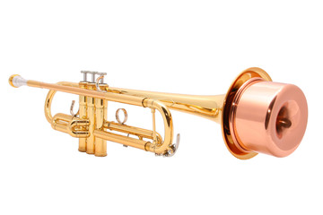 gold lacquer trumpet with mouthpiece and mute isolated on white