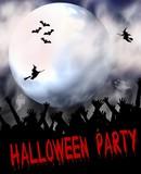Fototapety halloween party plakat - vollmond