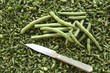 Green bush beans with small vegetable knife.