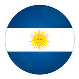 Abstract illustration: button with flag from Argentina country. poster