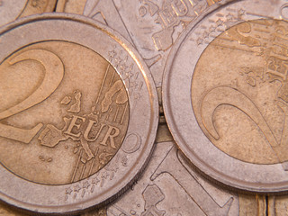 Euro coins of different value macro above