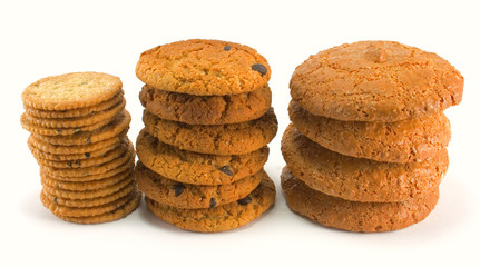 three stack of cookies isolated on white background