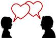 silhouette couple talk love in heart speech bubbles