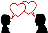 silhouette couple talk love in heart speech bubbles poster