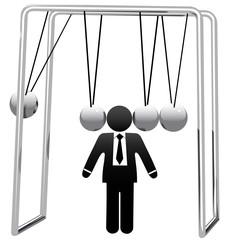 Newtons Cradle Cradles Symbol Busines Man Head