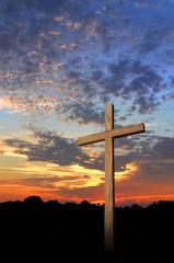 Wooden cross during a beautiful sunset