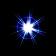 An abstract lens flare. Very bright burst in blue and purple