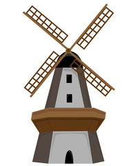 Wooden Windmill isolated with door and windows.