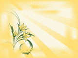 retro style vector background with plant and sunbeams poster