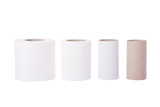 Sequence of toilet paper rolls from new to empty. poster