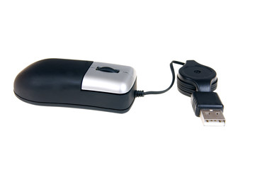 Small black mobile computer mouse isolated on white ackground
