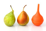 Two pears and a rubber siringe suggesting evolution process poster