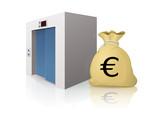 Ascenseur et charges en euro (reflet) poster