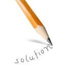 Pencil writing the word solution