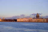 Neva river and Isaak cathedral poster