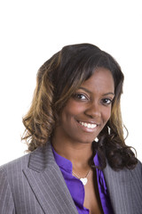 A beautiful african american businesswoman in a grey suit