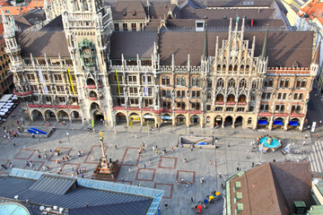 The aerial view of Munich city center from the Peterskirche