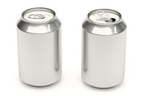 Aluminium soda cans isolated over a white background.