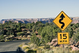 Curves - slow down to 15 MPH!@ poster