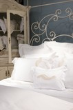luxury upscale bedding and linens poster