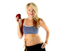 healthy blond in exercise outfit with a measuring tape