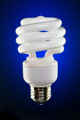 Spiral CFL Against Deep Blue Gradient Background