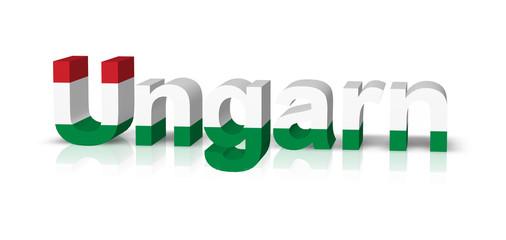 ungarn 3d text symbol reflektion
