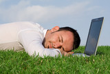 tired overworked man asleep at laptop poster