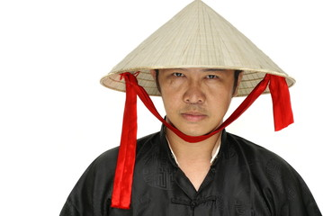 Asian man with vietnam conical hat