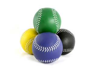 Stacked Softballs colored green blue black and yellow