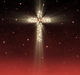 great glowing christian cross in starry night sky poster