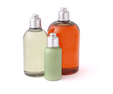 Three bottles of hygiene product on white background poster