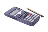 Scientific calculator and pencil on white background poster