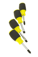 Screwdrivers arranged on white background
