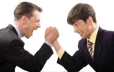 Image of tense businessmen in struggle