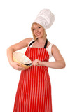female chef in red apron & mixing bowl, isolated on white poster