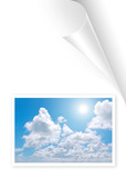 Turning white book page with skyscape photo poster