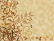 Autumn on parchment textured background