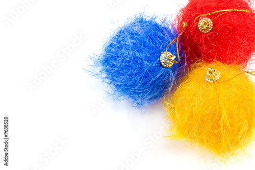 poster of Fluffy christmas baubles on white background