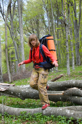 Woman backpacker hiking in spring forest