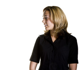 A blonde in a black shirt on a white background looking to right