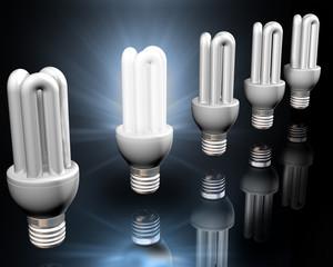 Illustration of a bright idea amongst energy saving light bulbs