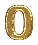 Golden font. Number zero. poster